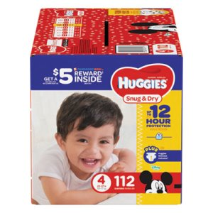 Huggies Snug and Dry Diapers, Size 4, 22 lb to 37 lb, 112/Pack (KCC43111)