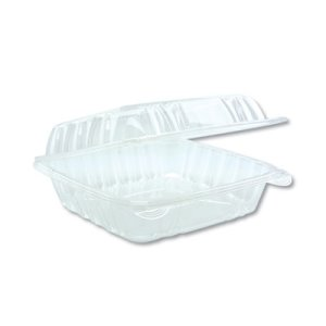 "Pactiv Hinged Lid Container, 8.34"" x 8.24"", Clear, 200/Carton (PCTYCI821200000)"