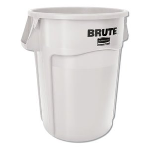 Rubbermaid Commercial Vented Round Brute Container, 44 Gal, White, Resin, 4/Carton (RCP1779740)
