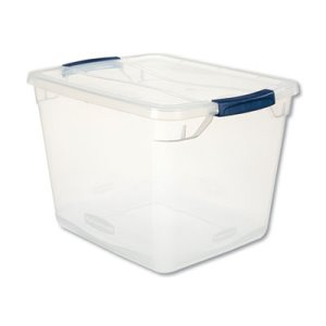 Rubbermaid Clever Store Basic Latch-Lid Container, 13 3/8w x 16 7/8d x 11 1/2h, 30qt, Clear (UNXRMCC300001)