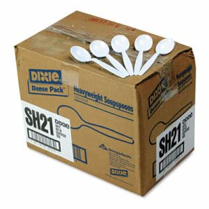 Dixie Plastic Cutlery, Heavyweight Soup Spoons, 1000/Carton, White (DXESH217)