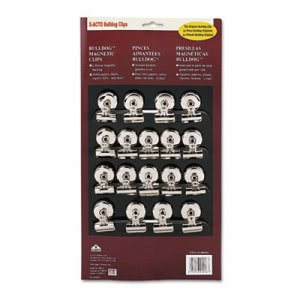 "X-acto Bulldog Magnetic Clips, Steel, 1-1/4""w, Nickel-Plated, 18/Box (EPI2026)"