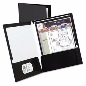 Oxford Laminated Folder, 100-Sheet Capacity, Black, 25 per Box (OXF51706)