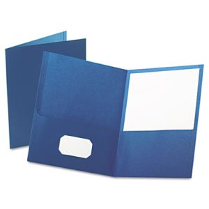 Oxford Twin-Pocket Folder, Embossed Leather Grain Paper, Blue (OXF57502)
