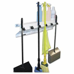"Ex-cell Mop & Broom Holder, 34""w x 5.5""d x 7.5""h, Gloss, Each (EXC3336WHT2)"