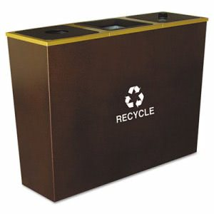 Ex-cell Metro Collection Recycling Receptacle, Triple Stream, Steel, 54 gal, Brown (EXCRCMTR3HCP)