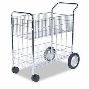 Fellowes Wire Mail Cart, 21-1/2w x 37-1/2d x 39-1/4h, Chrome (FEL40912)