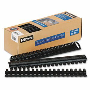 "Fellowes Plastic Comb Bindings, 1-1/2"" Diameter, Black, 10 Combs (FEL52066)"