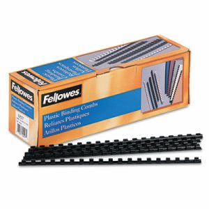 "Fellowes Plastic Comb Bindings, 5/16"" Diameter, 40 Sheet Capacity, Black, 100 Combs/Pack (FEL52507)"