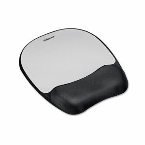 Fellowes Mouse Pad w/Wrist Rest, Nonskid Back, 8 x 9-1/4, Silver (FEL9175801)