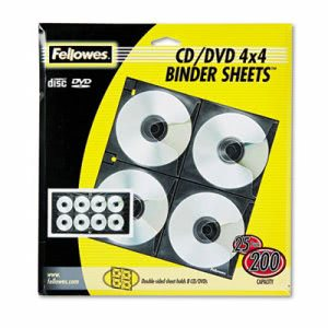 Fellowes 2-Sided CD/DVD Refill Sheets for 3-Ring Binder, 25/Pack (FEL95321)