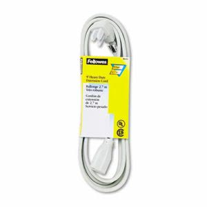 Fellowes Indoor Heavy-Duty Extension Cord, 3-Prong Plug, 1 Outlet, 9-ft. Length, Gray (FEL99595)