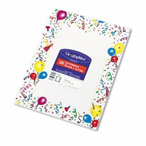 Geographics Design Paper, 24 lbs., Party, 8-1/2 x 11, White, 100/Pack (GEO39219)