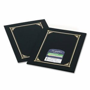 Geographics Certificate/Document Cover, 12-1/2 x 9-3/4, Black, 6/Pack (GEO45331)