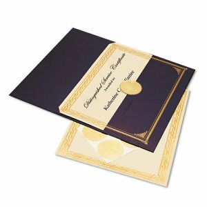 Geographics Ivory/Gold Foil Embossed Award Cert. Kit, Blue Metallic Cover, 6/Pk. (GEO47481)