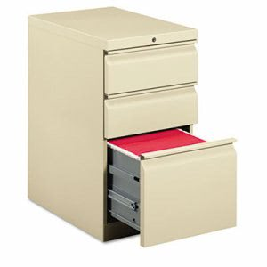 Hon Efficiencies Mobile Pedestal File with One File/Two Box Drawers, 22-7/8d, Putty (HON33723RL)