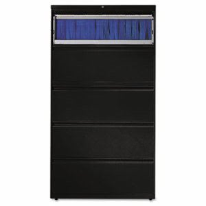 Hon 800 Series Five-Drawer Lateral File, Roll-Out/Posting Shelves, 36w x 67h, Black (HON885LP)