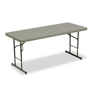 Iceberg IndestrucTable TOO Adj Hgt Resin Folding Table, 72w x 30d x 25-35h, Charcoal (ICE65627)