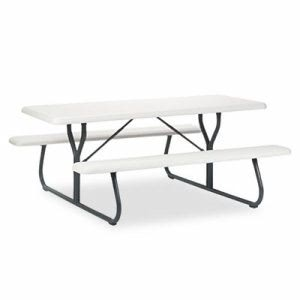 Iceberg IndestrucTable Series Resin Picnic Table, 72 x 30, Platinum (ICE65923)