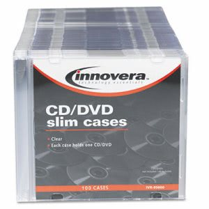 Innovera CD/DVD Polystyrene Thin Line Storage Case, Clear, 100/Pack (IVR85800)