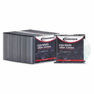 Innovera CD/DVD Polystyrene Thin Line Storage Case, Clear, 25/Pack (IVR85825)