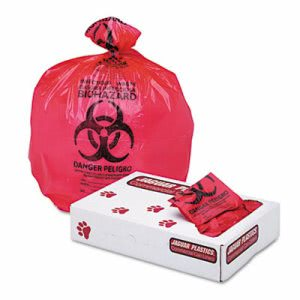 16 Gallon Red Biohazard Bags, 24x32, 1.3mil, 250 Bags (JAGIW2432R)