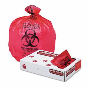 33 Gallon Red Biohazard Bags, 33x39, 1.3mil, 150 Bags (JAGIW3339R)