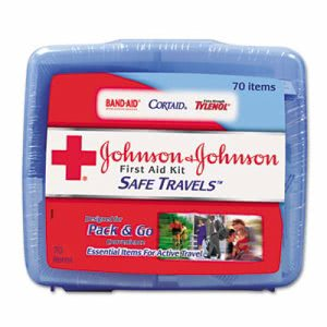 Johnson & Johnson Red Cross Portable Travel First Aid Kit, 70 Pieces (JOJ8274)