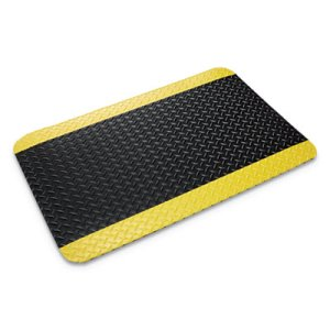 "Crown Deck Plate Anti-Fatigue Vinyl Mat, 36""x60"", Black/Yellow (CWNCD0035YB)"