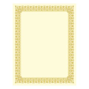 Southworth Certificates, Ivory/Gold Border, 8.5 x 11, 15 Certificates (SOUCTP1V)