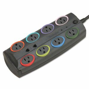 Kensington SmartSockets Color-Coded Surge Protector, 8 Outlets (KMW62691)