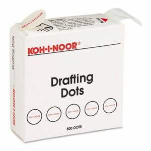 Koh-I-Noor Adhesive Drafting Dots w/Dispenser, White, 500 Dots (KOH25900J01)