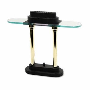 Ledu Halogen Desk Lamp, Black/Brass Base, Glass Shade, 15 Inches High (LEDL9074)