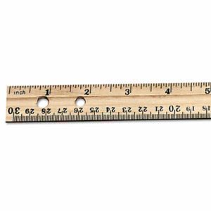 "Charles Leonard Economical Beveled Wood Ruler w/Single Metal Edge, 12"", Natural, 36/Box (LEO77120)"