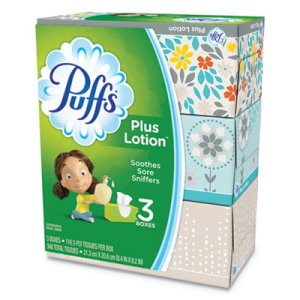 Puffs Plus Lotion Facial Tissues, 2-Ply, 3 Boxes/Pack (PGC82086)