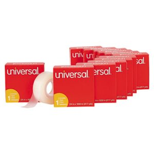 "Universal Invisible Tape, 3/4"" x 1000"", 1 Core, 12/Pack (UNV83412)"