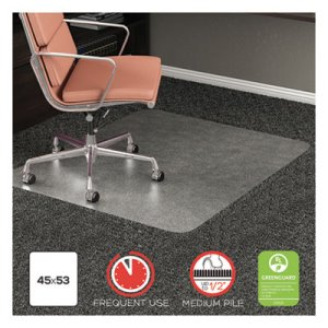 "Deflecto RollaMat Frequent Use Chair Mat, 45"" x 53, Clear (DEFCM15242COM)"