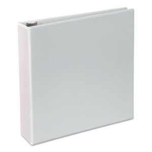 "Universal Deluxe Round Ring Vinyl View Binder, 2"" Capacity, White (UNV20732)"