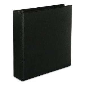"Universal Economy D-Ring Vinyl View Binder, 2"" Capacity, Black (UNV20745)"