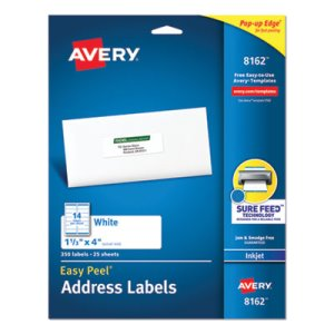 "Avery 8162 White Easy Peel Address Labels, 1-1/3"" x 4"", 350 Labels (AVE8162)"