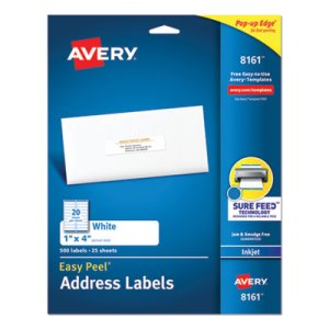 "Avery 8161 White Easy Peel Address Labels, 1"" x 4"", 500 Labels (AVE8161)"