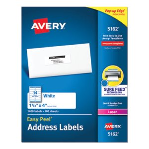 Avery 5162 White Easy Peel Address Labels, 1-1/3 x 4, 1,400 Labels (AVE5162)