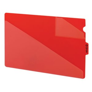 Smead Out Guides with Diagonal-Cut Pockets, Poly, Legal, Red, 50/Box (SMD61970)