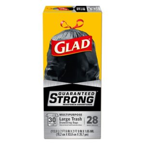 Glad 30 Gallon Drawstring Large Garbage Bags, 6 Boxes (CLO78966)