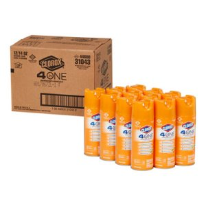 Clorox 4-in-One Disinfectant & Sanitizer, Fresh Citrus, 12 Cans (CLO31043CT)