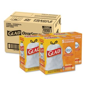 Glad OdorShield 13 Gallon White Garbage Bags, 0.95 mil, 240 Bags (CLO78901)