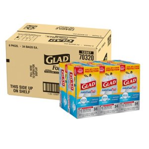 Glad 13 Gallon White Garbage Bags, 24x28, 0.9mil, 204 Bags (CLO70320)