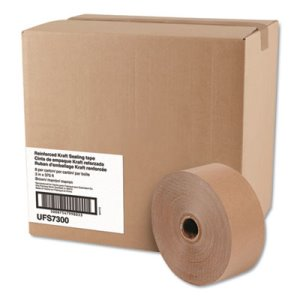 "GEN Cobra Reinforced Kraft Sealing Tape, 3"" x 375', Brown, 8 Rolls (UFS7300)"