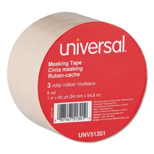 "Universal General Purpose Masking Tape, 1"" x 60 yds, 3"" Core, 3/Pack (UNV51301)"