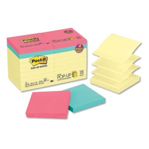 Post-it Notes Bonus Pack Pop-Up Refills, Yellow/Assorted, 18 Pads (MMMR330144B)